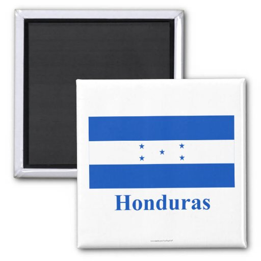 Honduras Flag with Name 2 Inch Square Magnet