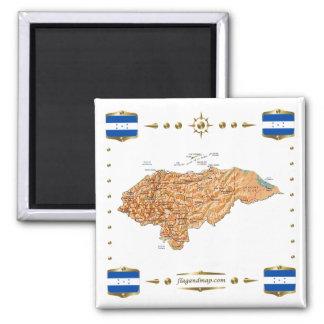 Honduras Map + Flags Magnet