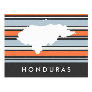 Honduras Map: Modern Stripes Postcard