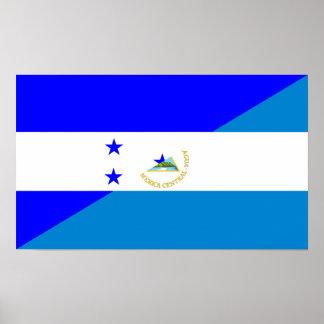 honduras nicaragua country half flag poster