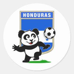 Round Sticker with Honduras Football Panda design