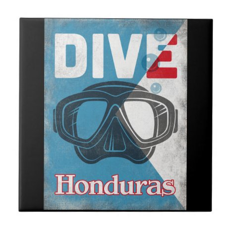 Honduras Vintage Scuba Diving Mask Ceramic Tile