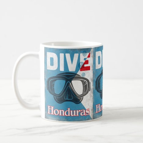 Honduras Vintage Scuba Diving Mask Coffee Mug