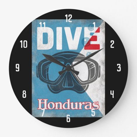 Honduras Vintage Scuba Diving Mask Large Clock