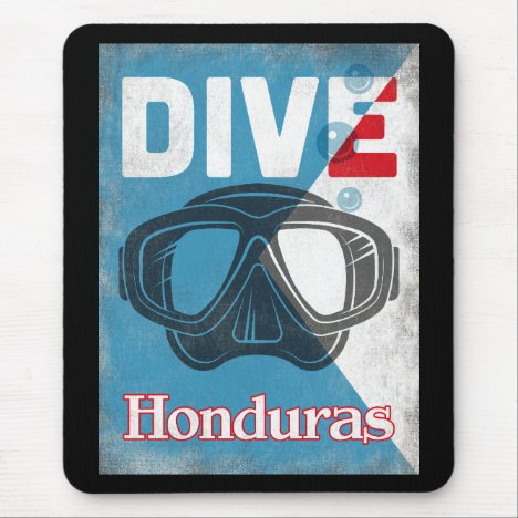 Honduras Vintage Scuba Diving Mask Mouse Pad