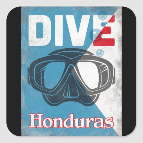 Honduras Vintage Scuba Diving Mask Square Sticker