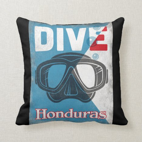 Honduras Vintage Scuba Diving Mask Throw Pillow