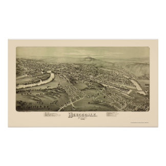 Honesdale, PA Panoramic Map - 1890 Poster