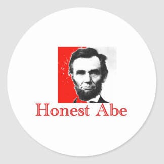 """Honest Abe"" Abe Lincoln Art T-Shirt & Gifts Classic Round Sticker"
