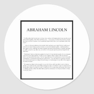 Honest Abe alternate layout Classic Round Sticker
