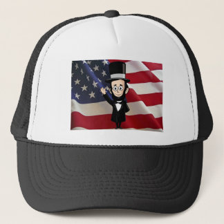 Honest Abe and American Stars and Bars Waving Trucker Hat