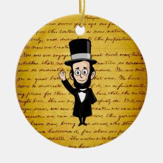 Honest Abe and His Gettysburg Address Ceramic Ornament
