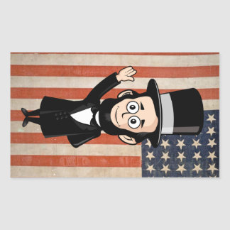 Honest Abe Lincoln and Old Glory Proudly Flying Rectangular Sticker