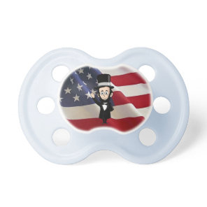 Honest Abe Lincoln and Old Glory Proudly Waving Pacifier