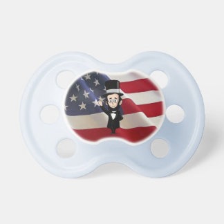 Honest Abe Lincoln and Old Glory Proudly Waving BooginHead Pacifier