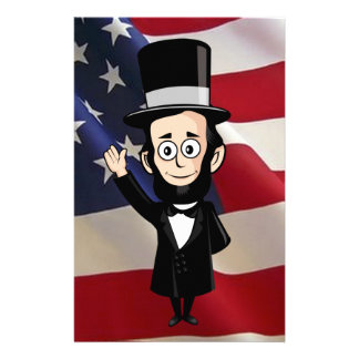 Honest Abe Lincoln and Old Glory Stationery