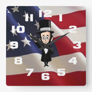 Honest Abe Lincoln and Old Glory Waving Proud Square Wall Clock