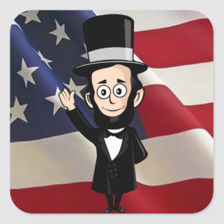 Honest Abe Lincoln and Old Glory Waving Proudly Square Sticker