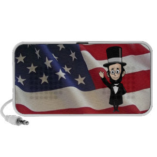 Honest Abe Lincoln in front of Old Glory Mini Speaker