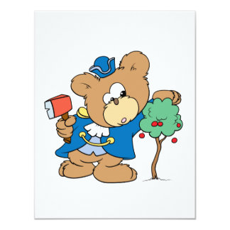 honest abe presidents day teddy bear design 4.25x5.5 paper invitation card