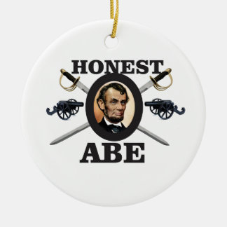 honest abe with swords ceramic ornament