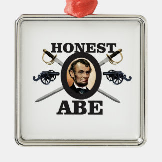 honest abe with swords metal ornament