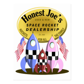 Honest Joe's Space Rocket Dealership Postcard