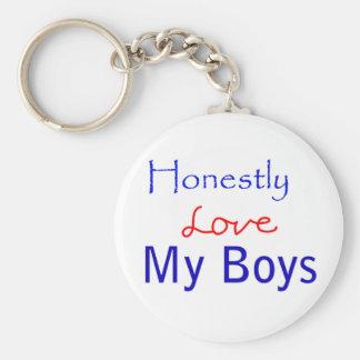 Honestly-Love-My-Boys Basic Round Button Keychain