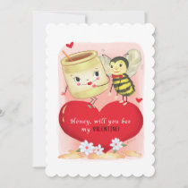 Honey And Bee Vintage Valentine Holiday Card