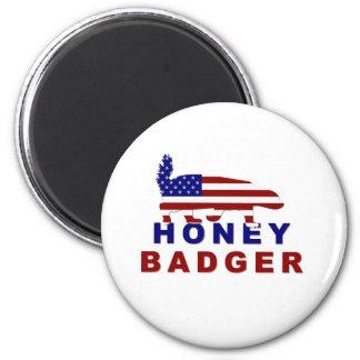 honey badger american flag 2 inch round magnet