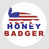 honey badger american flag classic round sticker