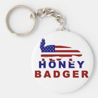 honey badger american flag keychain
