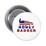 honey badger american flag pinback buttons