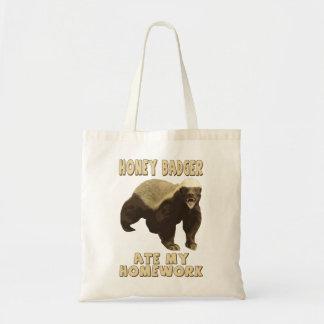 Honey Badger Ate My Homework Canvas Bags