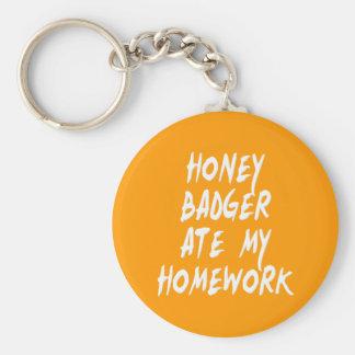 Honey Badger Ate My Homework Basic Round Button Keychain