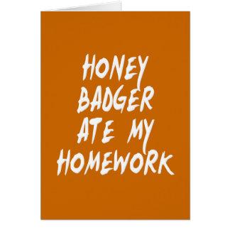 Honey Badger Ate My Homework Card
