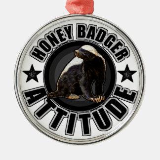 Honey Badger ATTITUDE - Round Design Metal Ornament