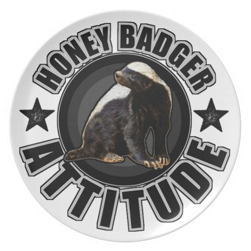 Honey Badger ATTITUDE - Round Design Party Plate