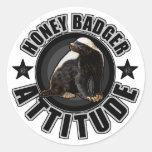 Honey Badger ATTITUDE - Round Design Stickers