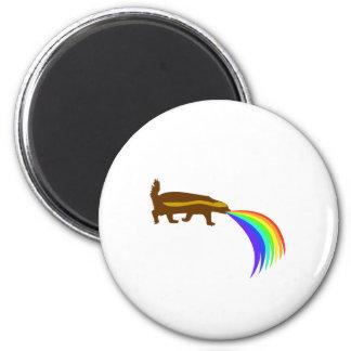 Honey Badger Barfing Rainbow 2 Inch Round Magnet