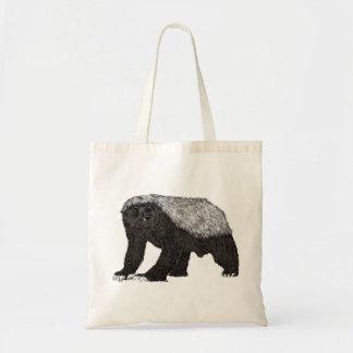 Honey badger baring his teeth illustration tote bag