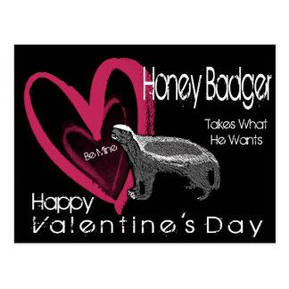 Honey Badger Be Mine Valentine's Day Postcards