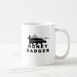honey badger black and white classic white coffee mug