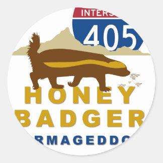 honey badger carmageddon classic round sticker
