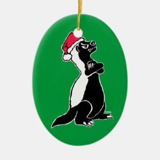 Honey badger Christmas Ceramic Ornament