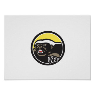 Honey Badger Claws Side Circle Retro Poster