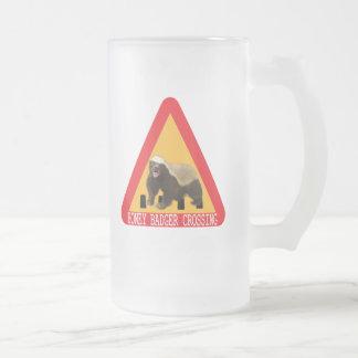 Honey Badger Crossing Sign Frosted Glass Beer Mug