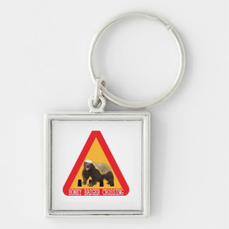 Honey Badger Crossing Sign Keychain