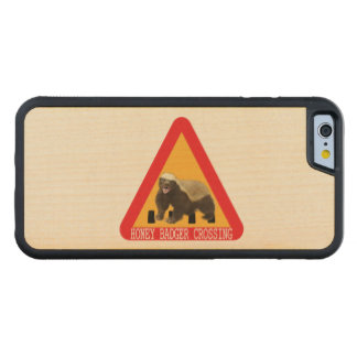 Honey Badger Crossing Sign - White Background Carved Maple iPhone 6 Bumper Case