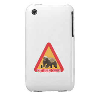 Honey Badger Crossing Sign - White Background iPhone 3 Case-Mate Case